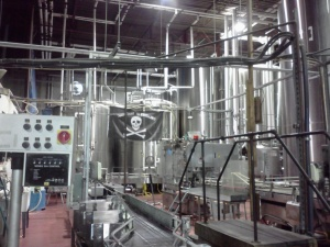 Part of the Heavy Seas bottling line- complete with pirate flag!